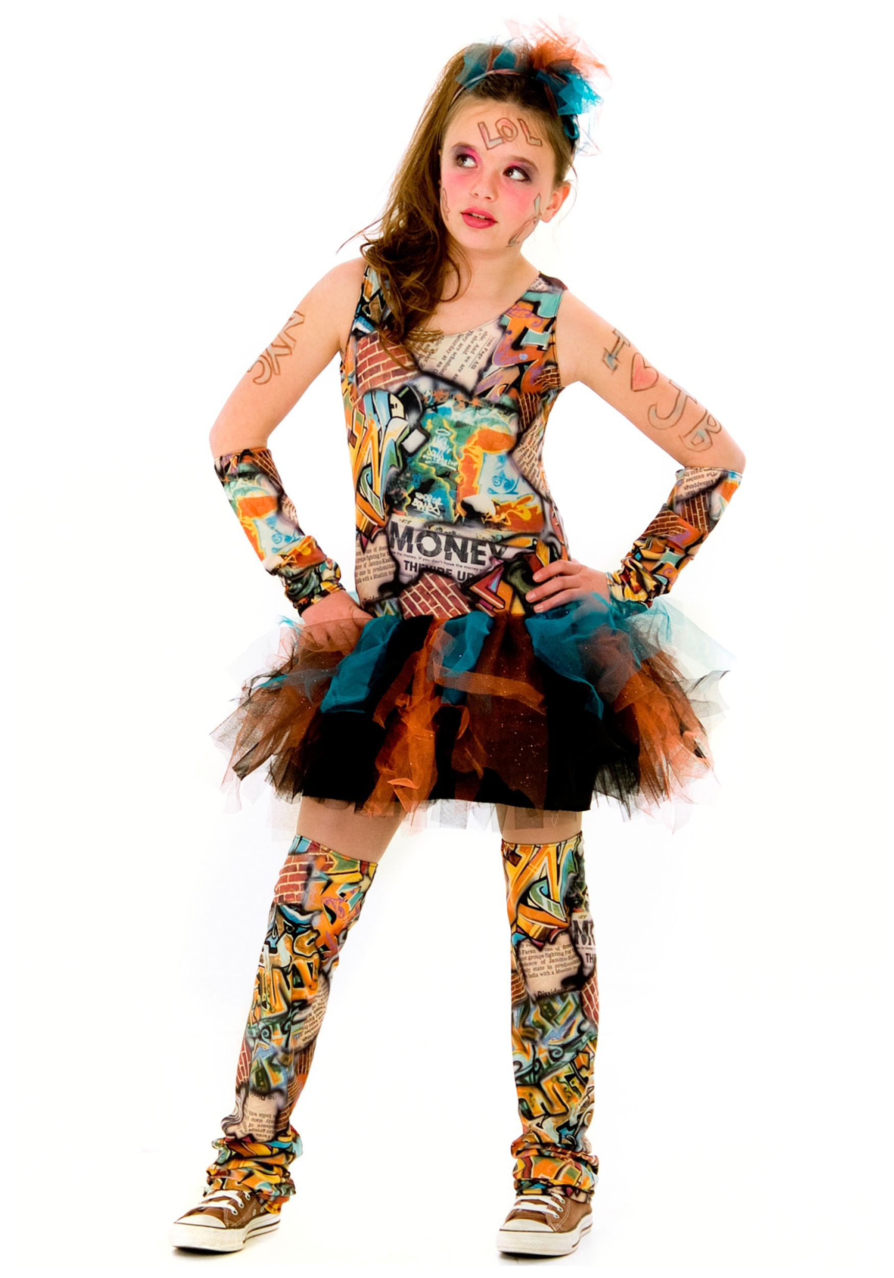 Tween graffiti girl costume for Cool halloween costumes for kids girls