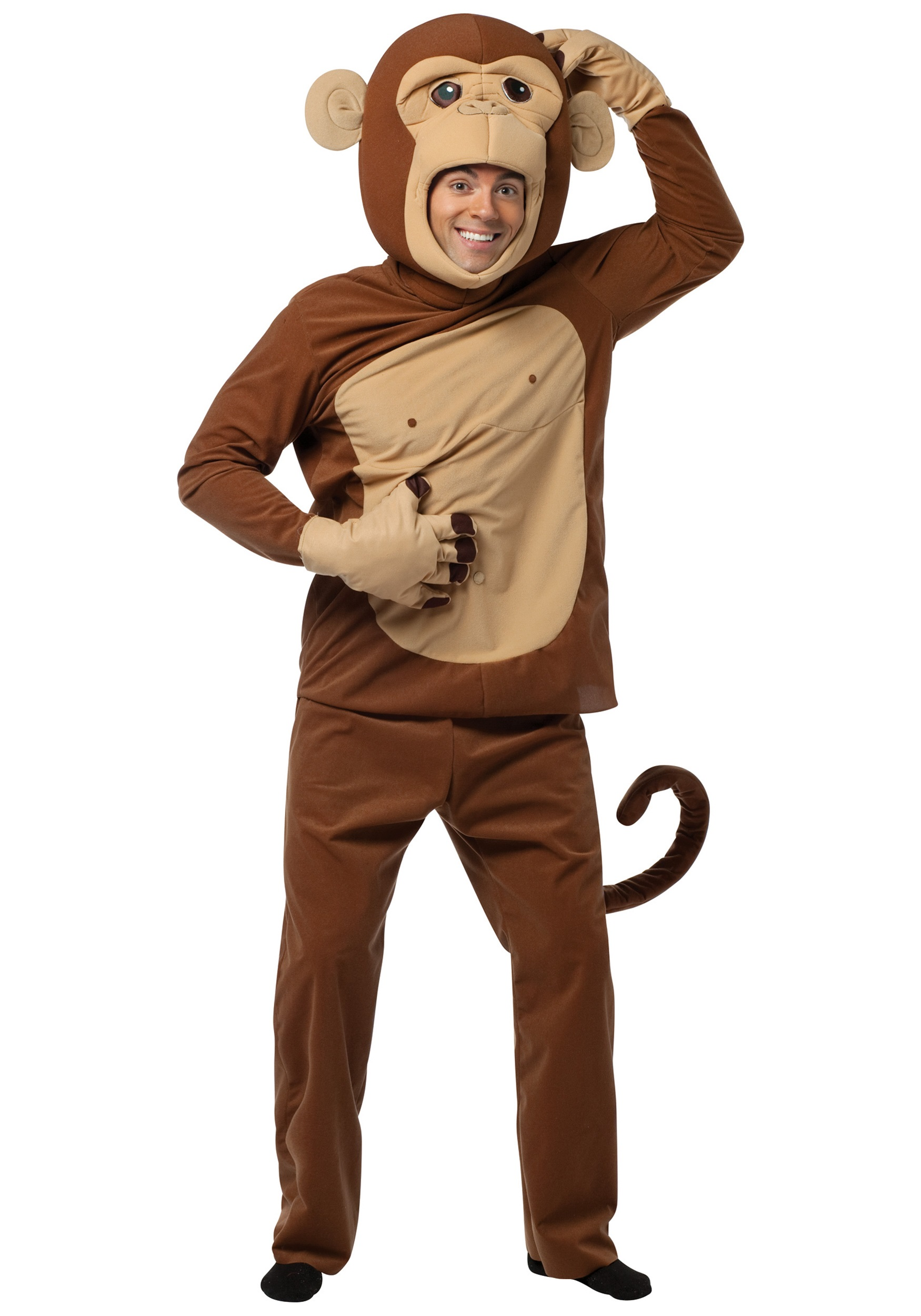 Monkey costumes for halloween halloweencostumes adult funky monkey costume solutioingenieria Choice Image