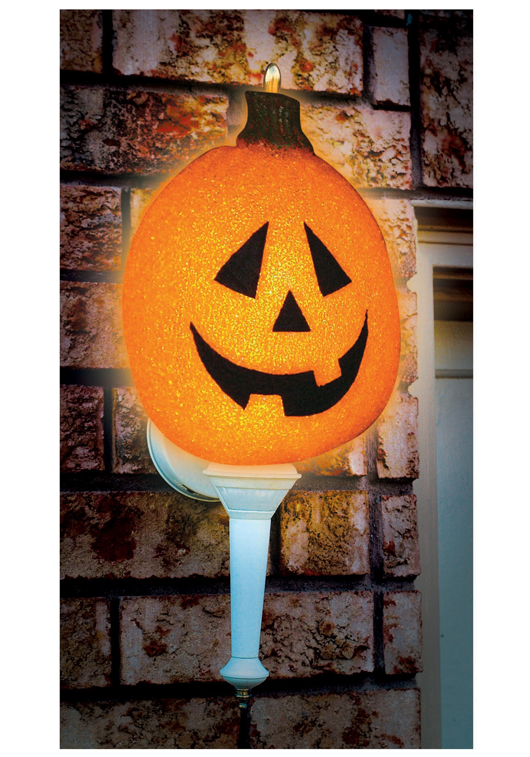 Sparkling Pumpkin Porch Light Cover  Outdoor Halloween - Decorating With Halloween Lights