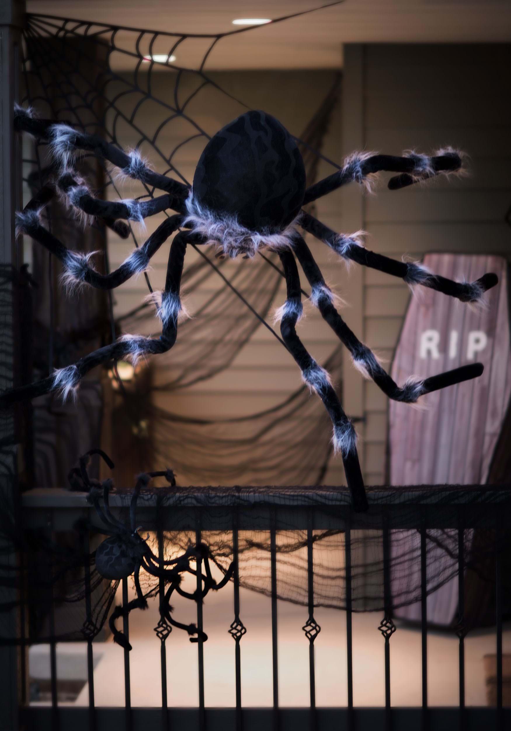 Halloween spider web decoration - Black 50 Inch Posable Spider
