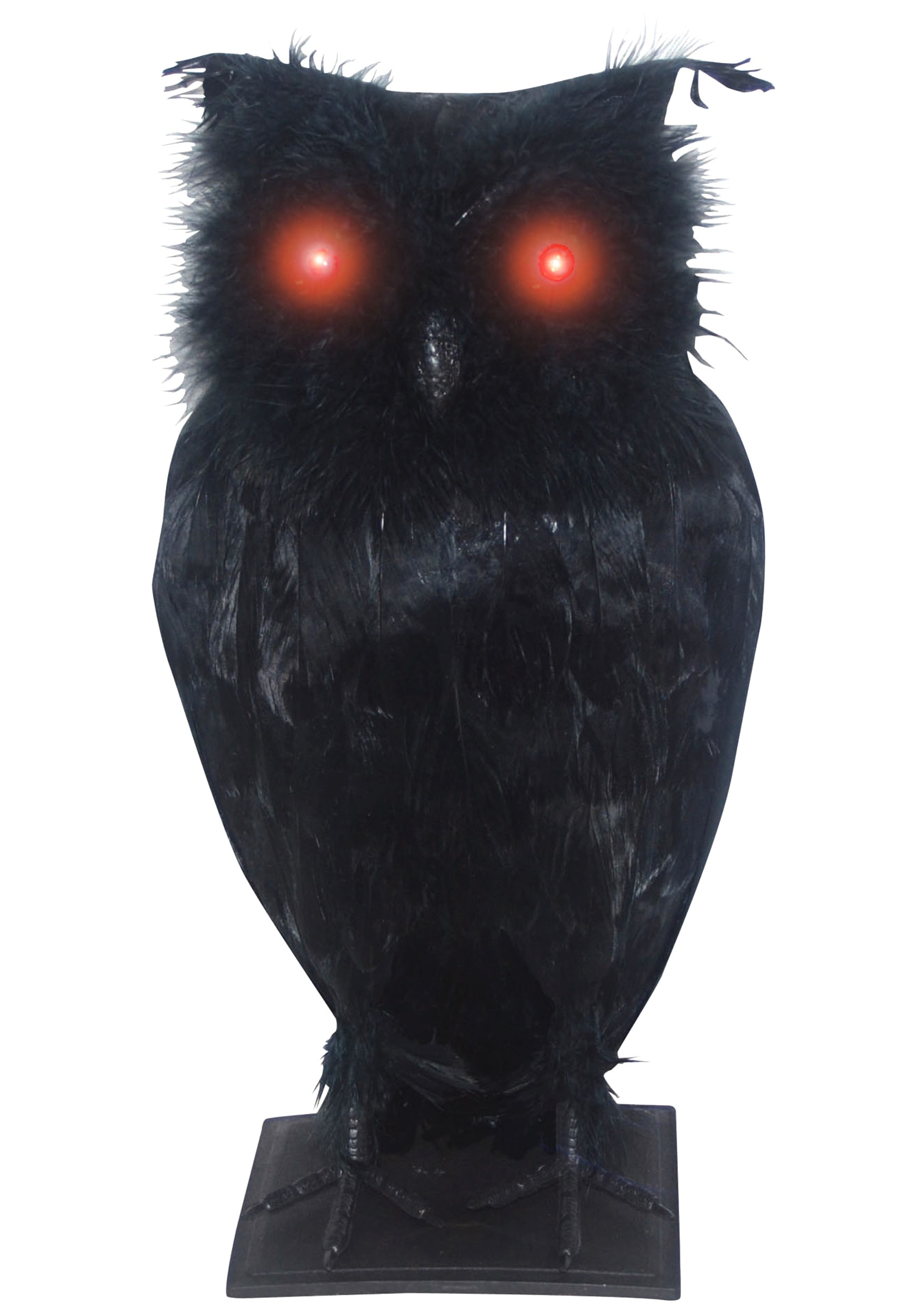 Light up black owl for Animated halloween decoration