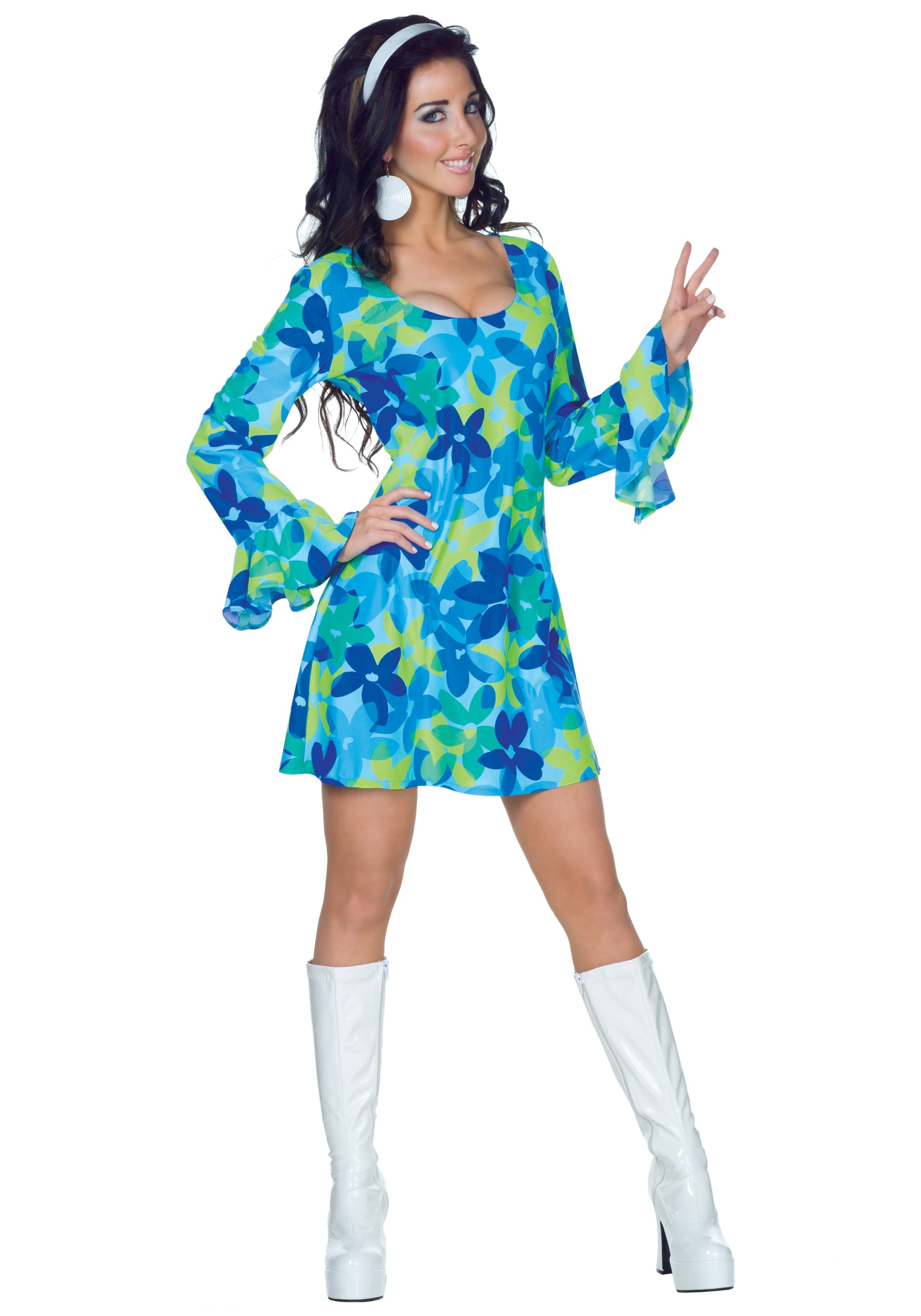 sc 1 st  Halloween Costumes & 70s Wild Flower Dress Costume