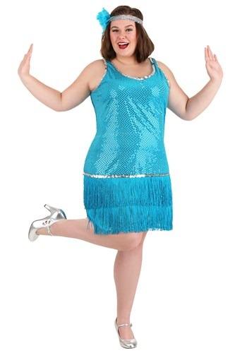 Plus Size Sequin & Fringe Turquoise Flapper