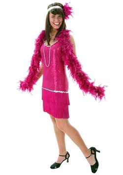 Plus Size Sequin & Fringe Fuchsia Flapper Dress Costume Upda