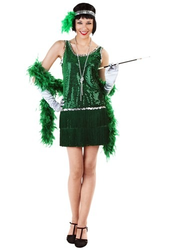 Sequin & Fringe Green Flapper Costume Plus Size
