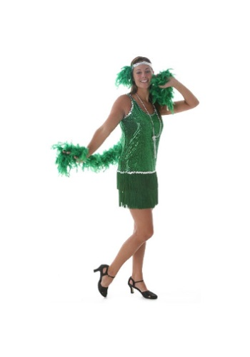 Click Here to buy Sequin & Fringe Green Flapper Costume Plus Size from HalloweenCostumes, USA Funds & Shipping