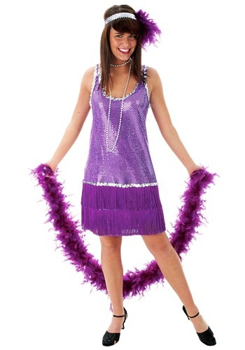 Purple Plus Size Flapper Dress Costume cc