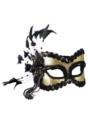 Click Here to buy Black and Gold Sequin and Feather Mardi Gras Mask from HalloweenCostumes, CDN Funds