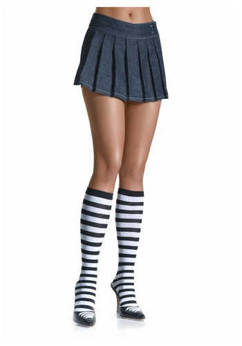 Image of Black / White Striped Knee High Stockings