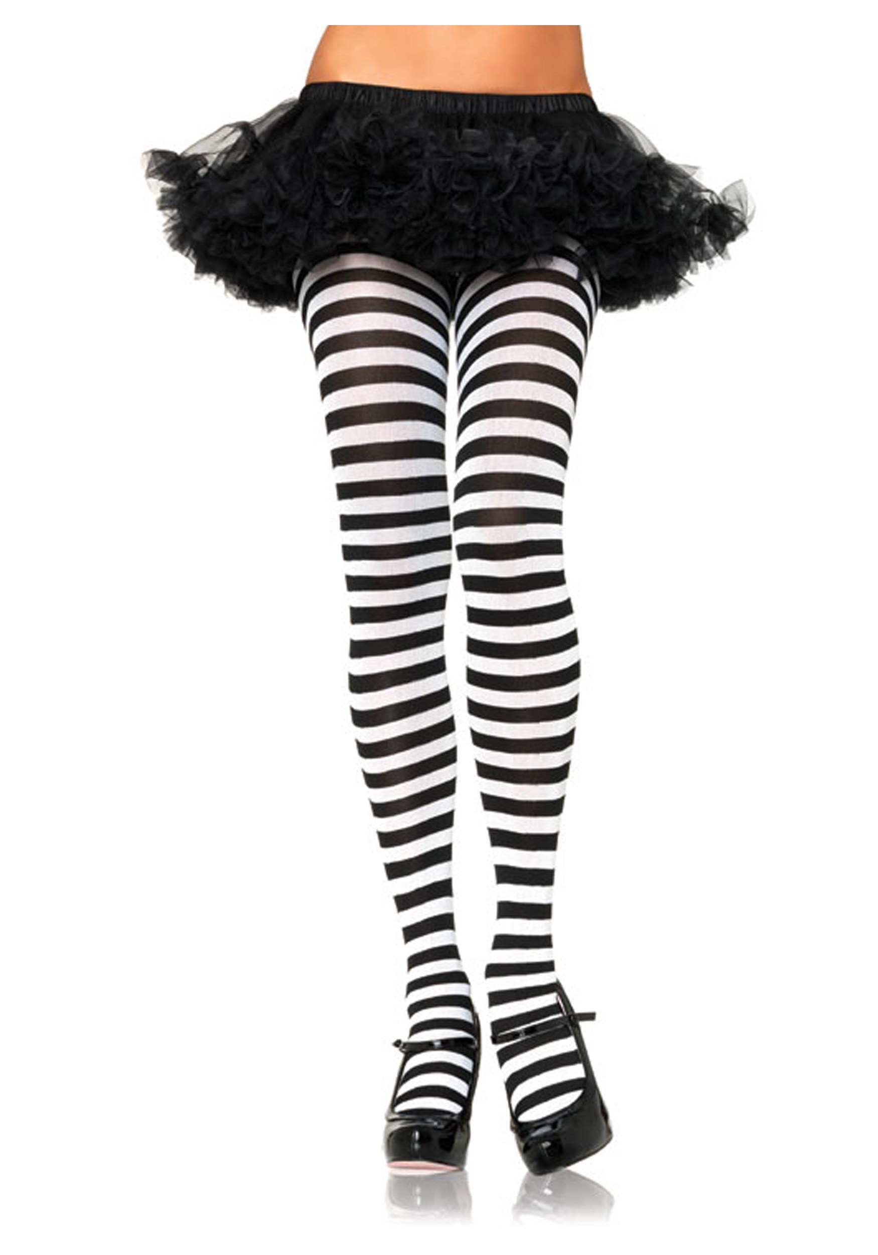 Plus Size Black / White Striped Tights