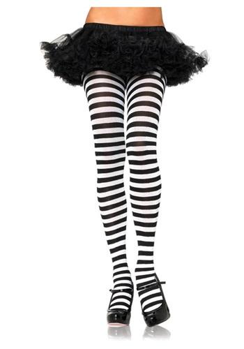 Plus Size Black / White Striped Tights LE7100QBKWH
