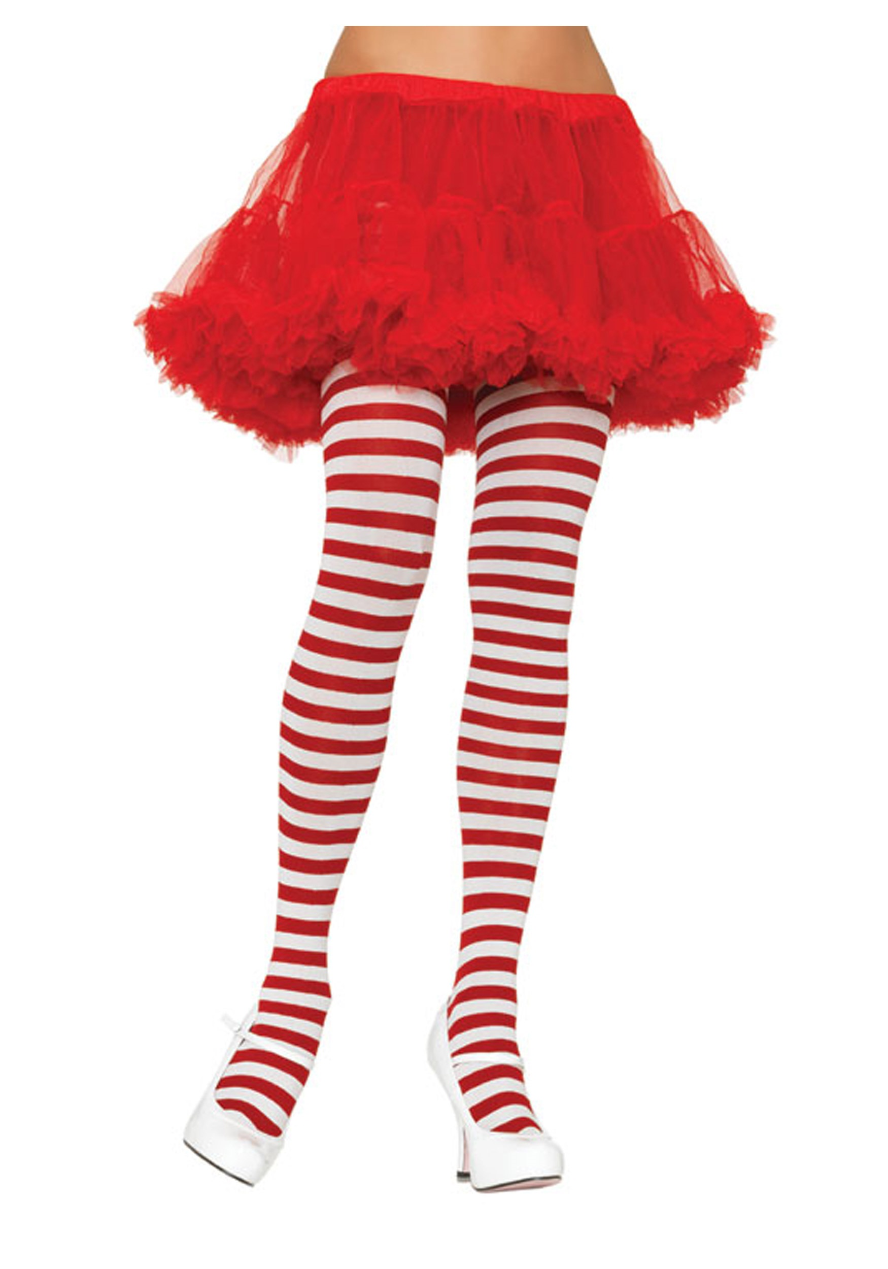 plus size white red striped tights