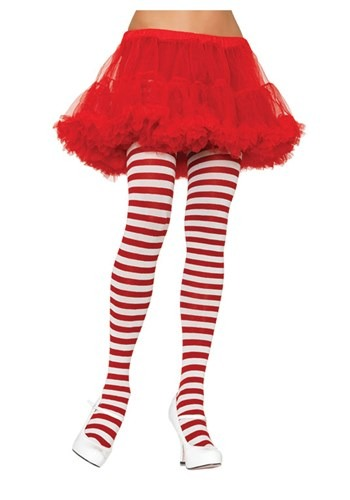 Click Here to buy White / Red Striped Tights from HalloweenCostumes, CDN Funds