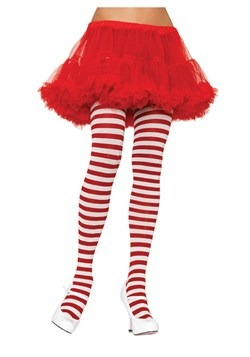 White / Red Striped Tights new