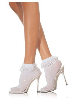 Adult White Ruffle Nylon Socks