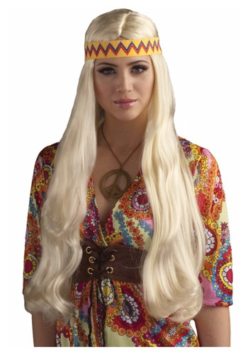 Blonde Hippie Chick Wig w/ Headband By: Forum Novelties, Inc for the 2015 Costume season.