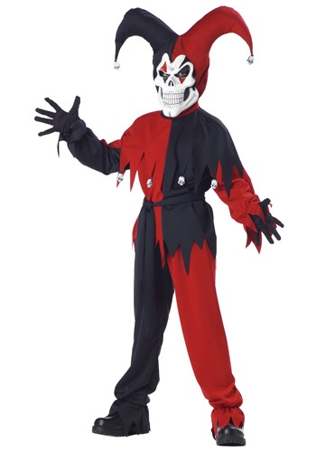 Click Here to buy Kids Evil Jester Costume from HalloweenCostumes, USA Funds & Shipping