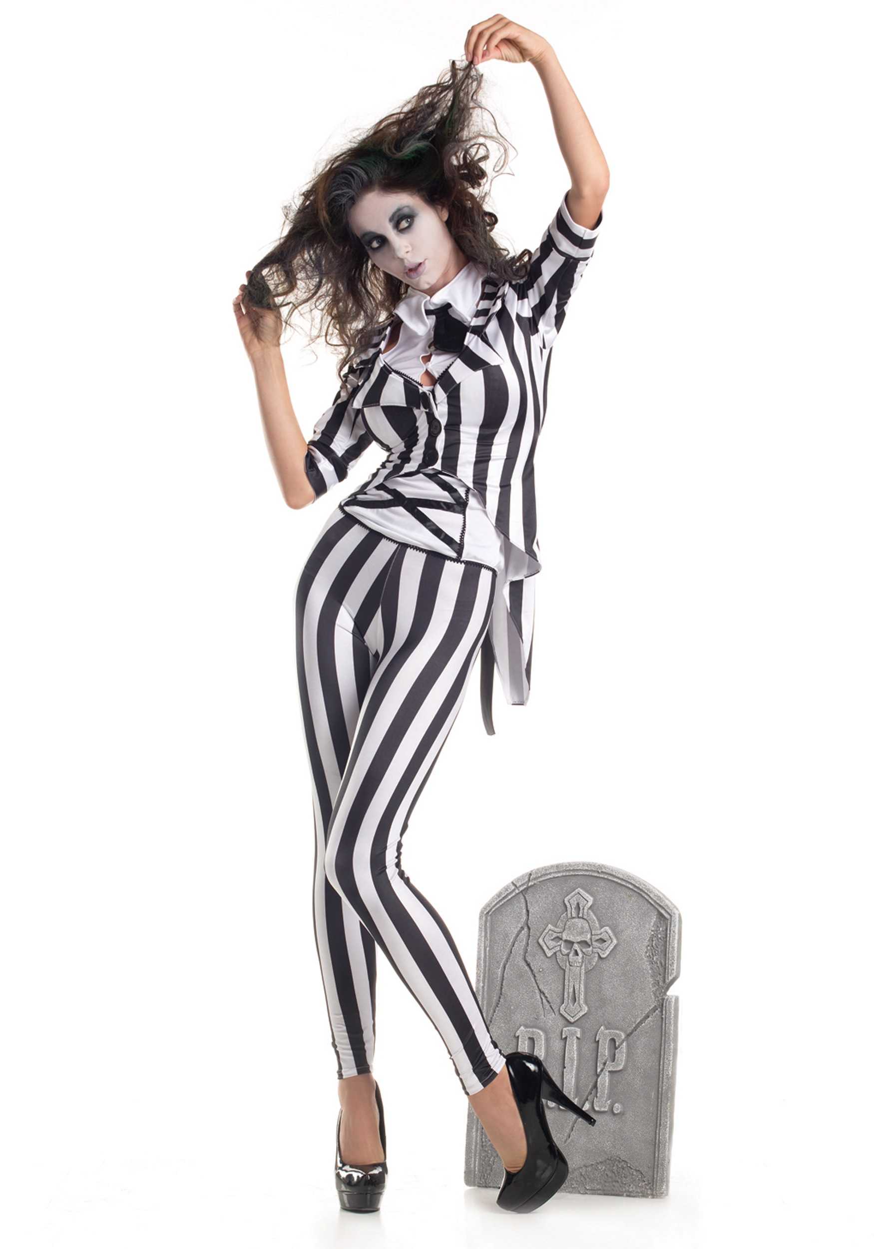 Adult Graveyard Ghost Costume Beetlejuice Women S Suit