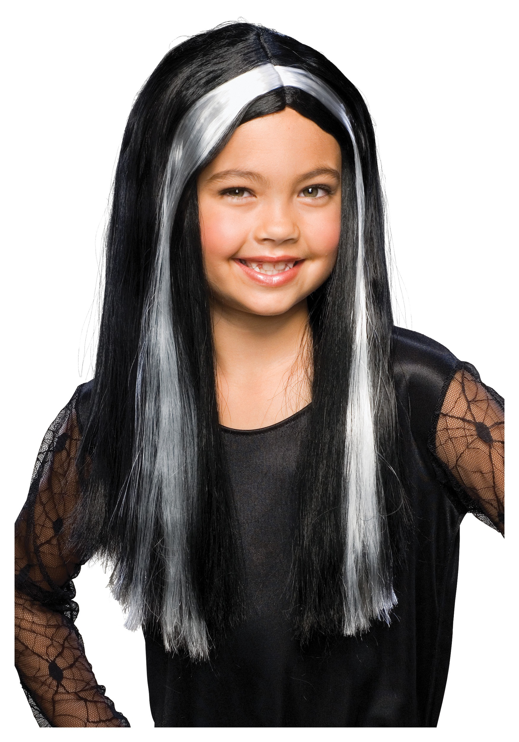 Black And Grey Child Witch Wig