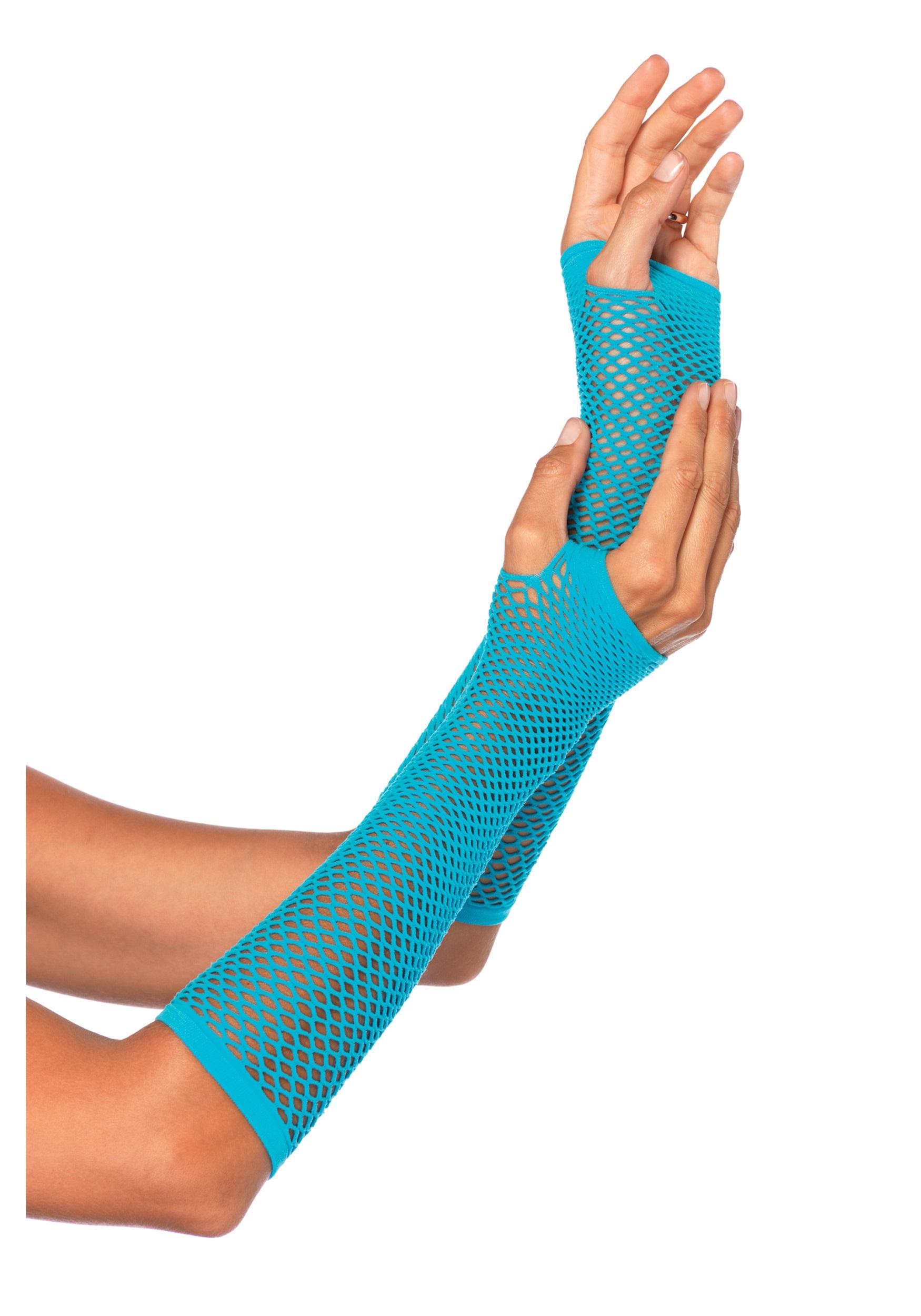 Green Fishnet Gloves Blue Fishnet Gloves