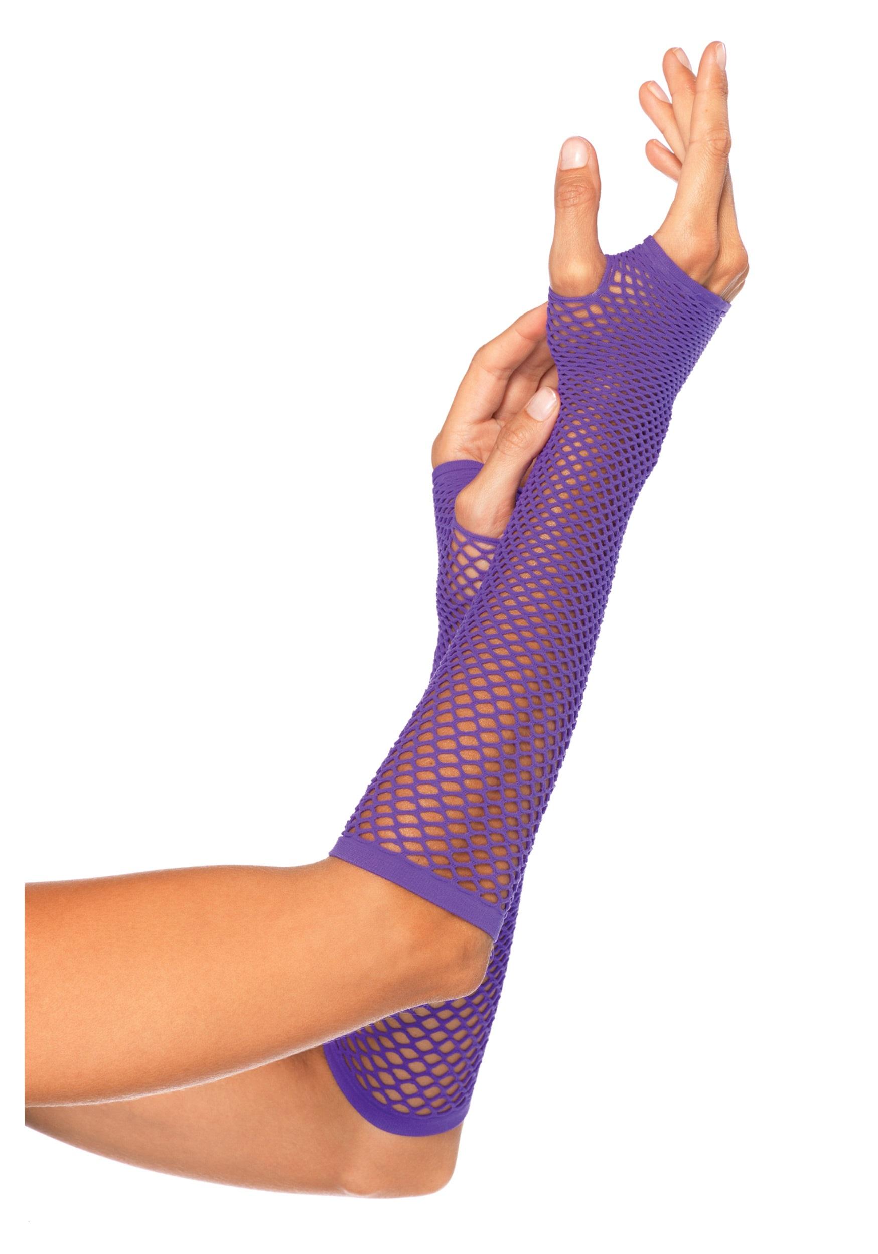 Green Fishnet Gloves But Purple Fishnet Gloves