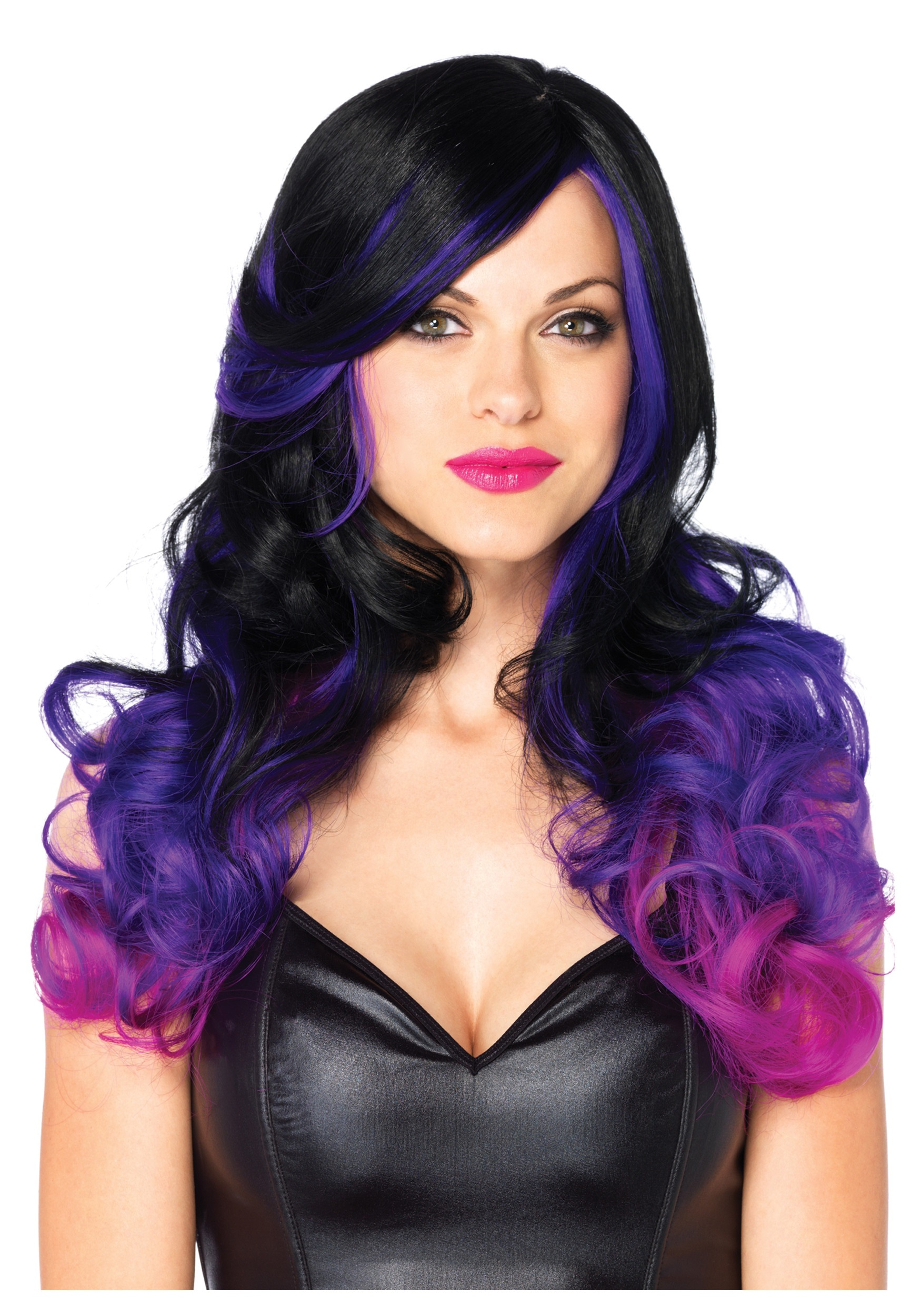 purple and black costume two-tone wig accessory