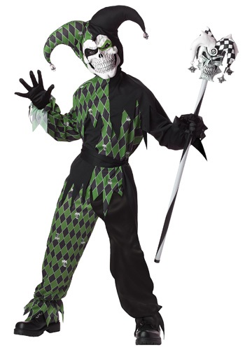 Click Here to buy Kids Green Scary Jester Costume from HalloweenCostumes, USA Funds & Shipping