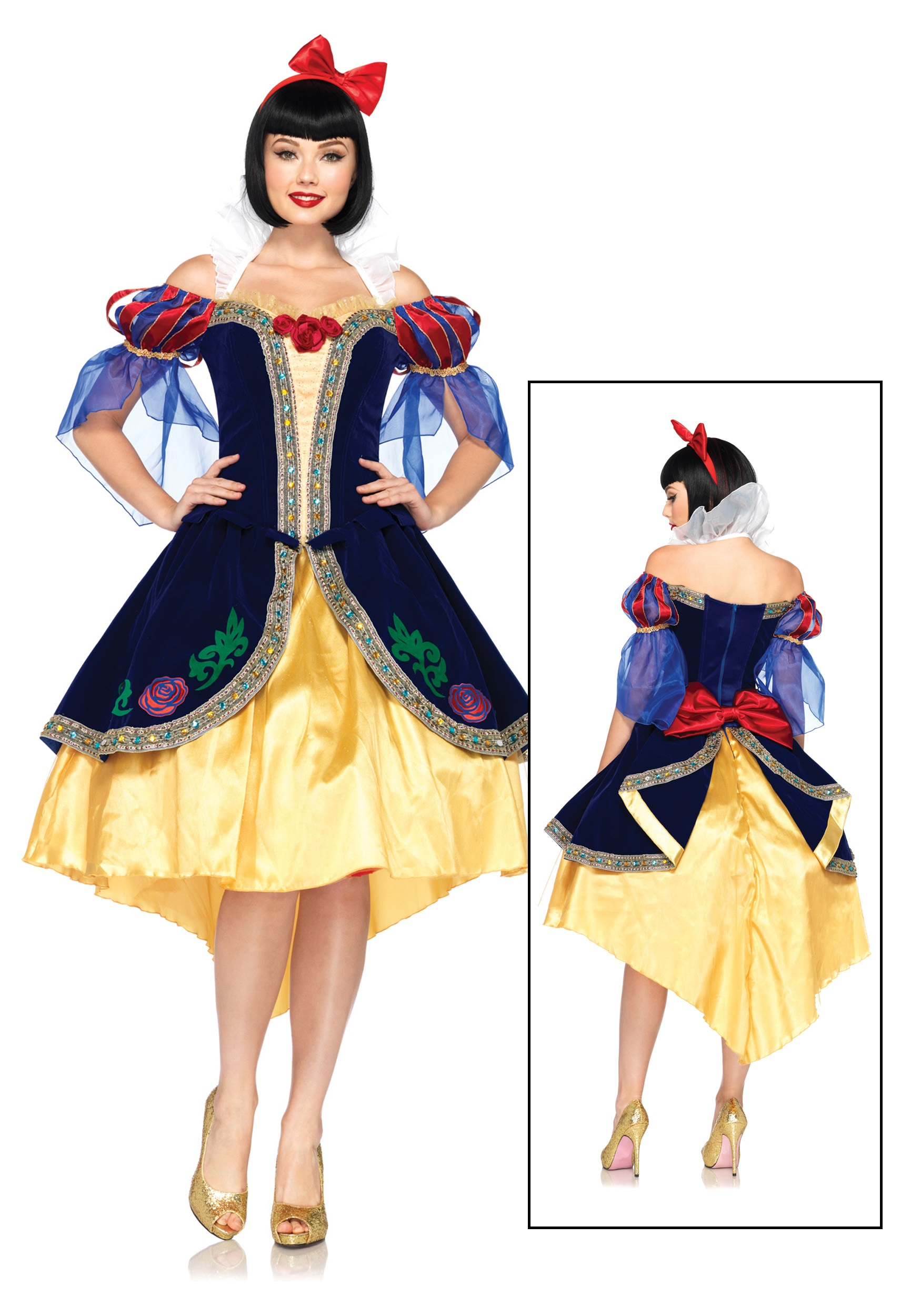 Adult Deluxe Snow Princess Snow White Cartoon Character Dress Up Costume