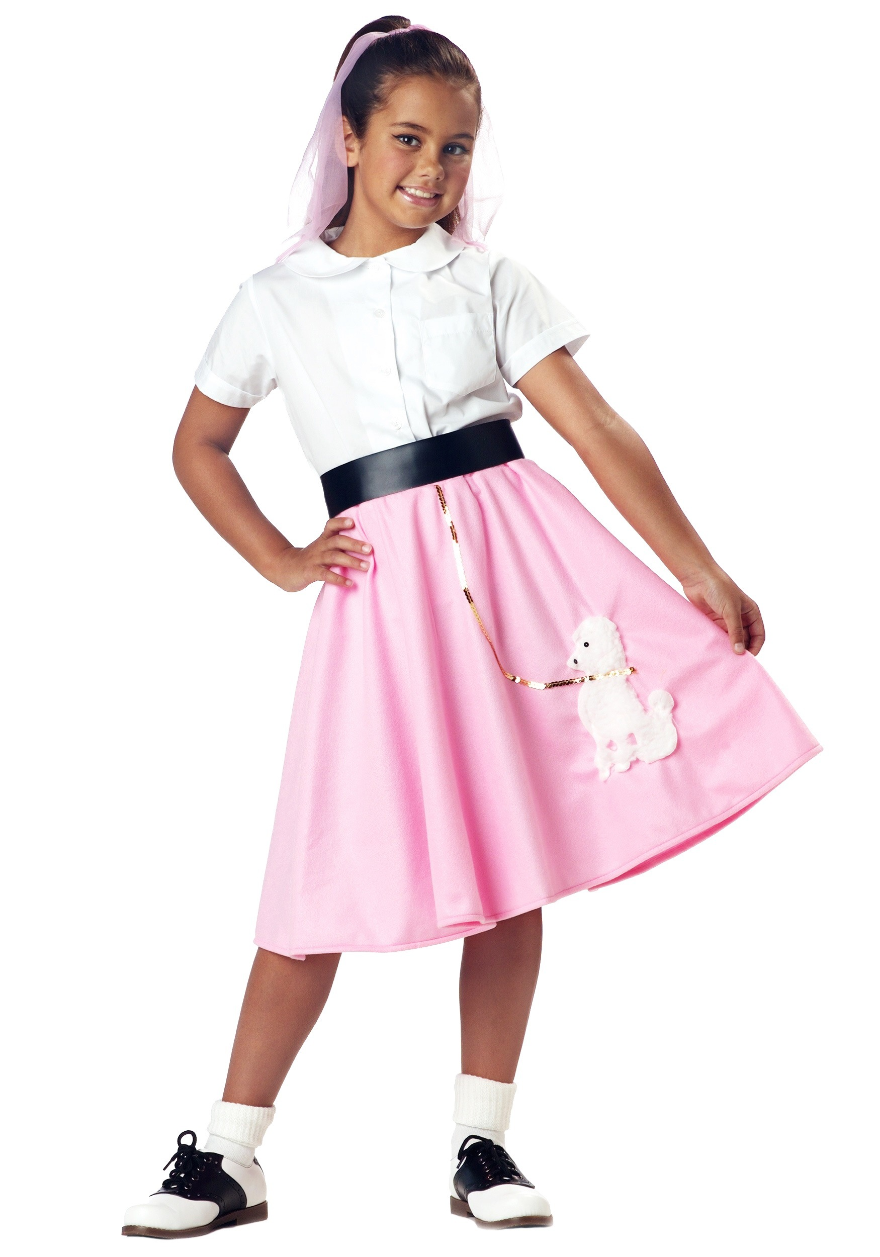 Hip Hop 50s Shop Womens 8pc Black w// Pink Poodle Skirt Halloween Costume Set