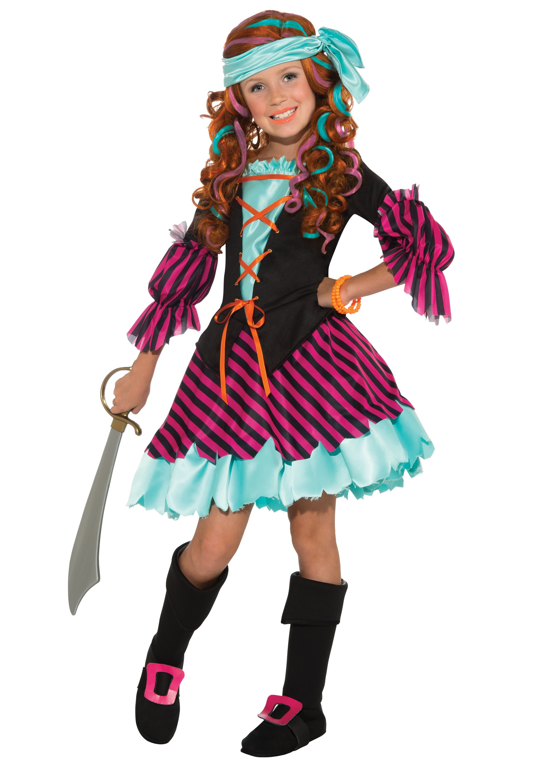 Salty taffy girls pirate costume for Cool halloween costumes for kids girls