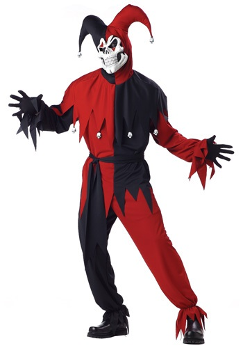 Click Here to buy Adult Evil Jester Costume from HalloweenCostumes, USA Funds & Shipping
