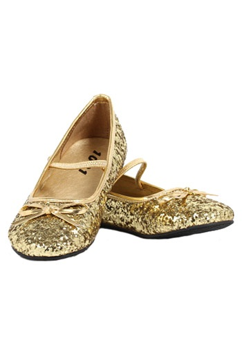 Girls Gold Glitter Ballet Flats By: Ellie for the 2015 Costume season.