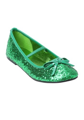 Click Here to buy Girls Green Glitter Ballet Flats from HalloweenCostumes, CDN Funds