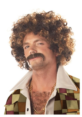 Disco Dirt Bag Wig and Mustache for Men