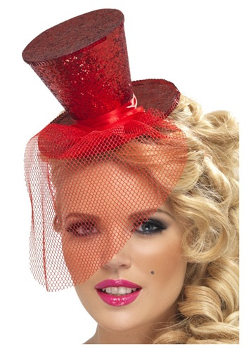 Fever Red Glitter Mini Top Hat