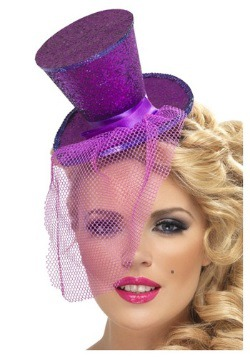 Fever Purple Glitter Mini Top Hat