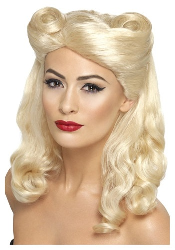 Click Here to buy 40s Blonde Pin Up Wig from HalloweenCostumes, USA Funds & Shipping
