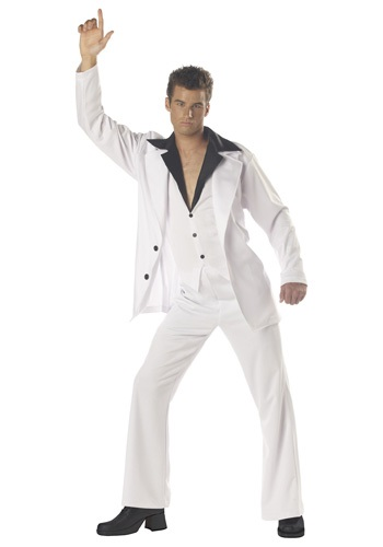 Men's White Disco Suit Costume