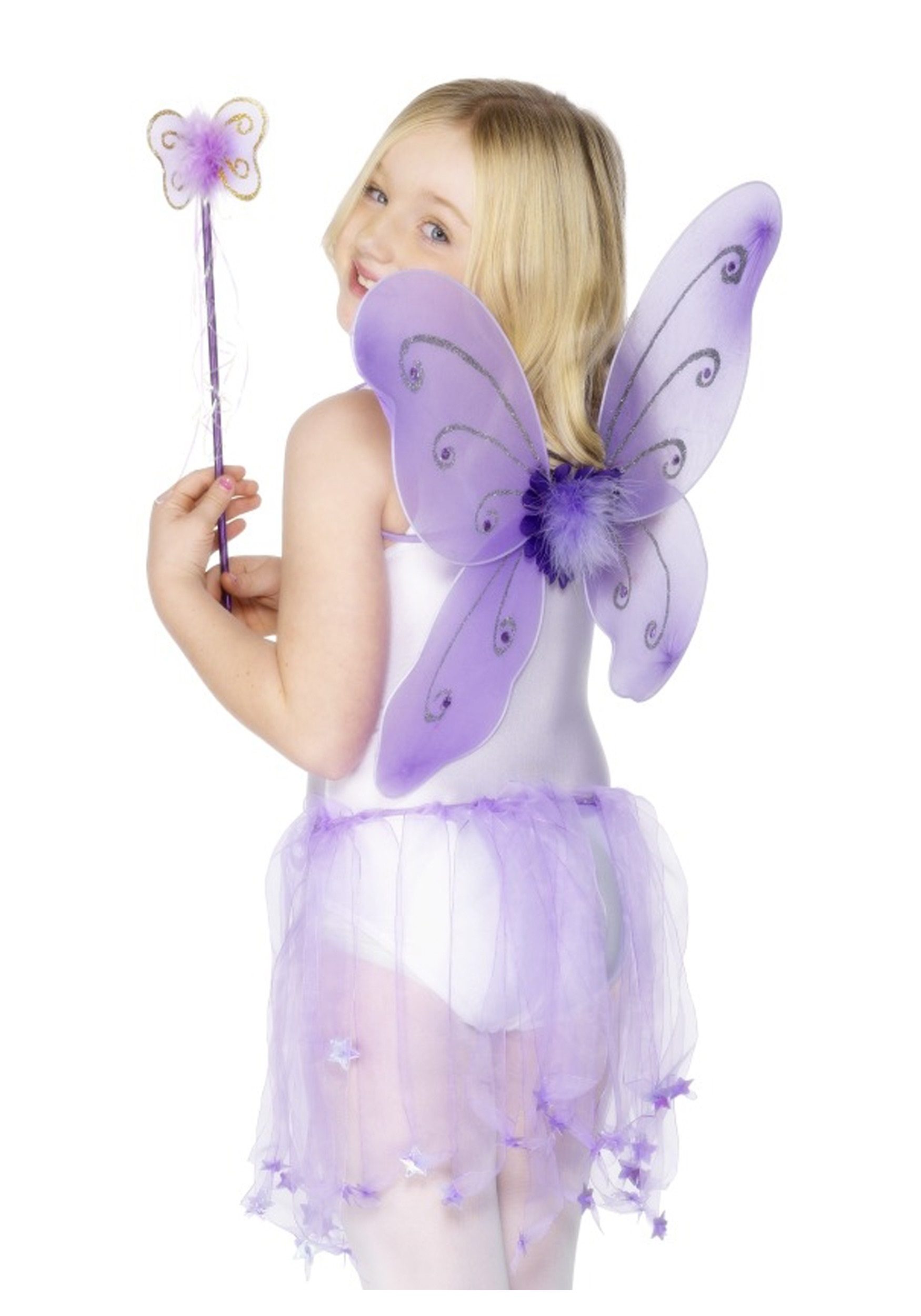 Girls butterfly costume wings kit kids Halloween purple