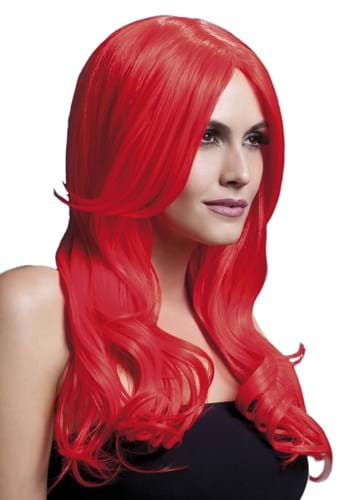 Styleable Fever Khloe Neon Red Wig By: Smiffys for the 2015 Costume season.