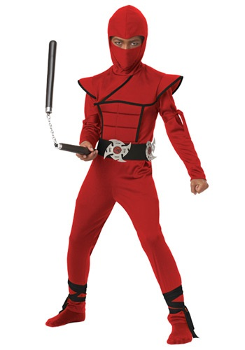 Boys Red Stealth Ninja Costume CA00397-L