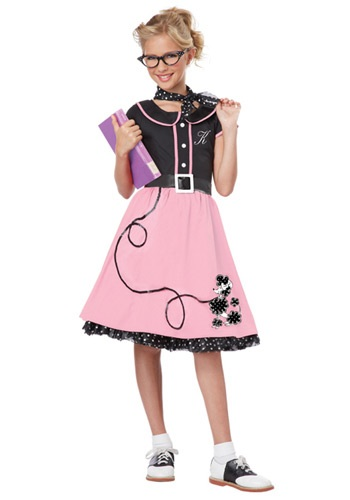 Click Here to buy Girls Pink 50s Sweetheart Costume from HalloweenCostumes, CDN Funds