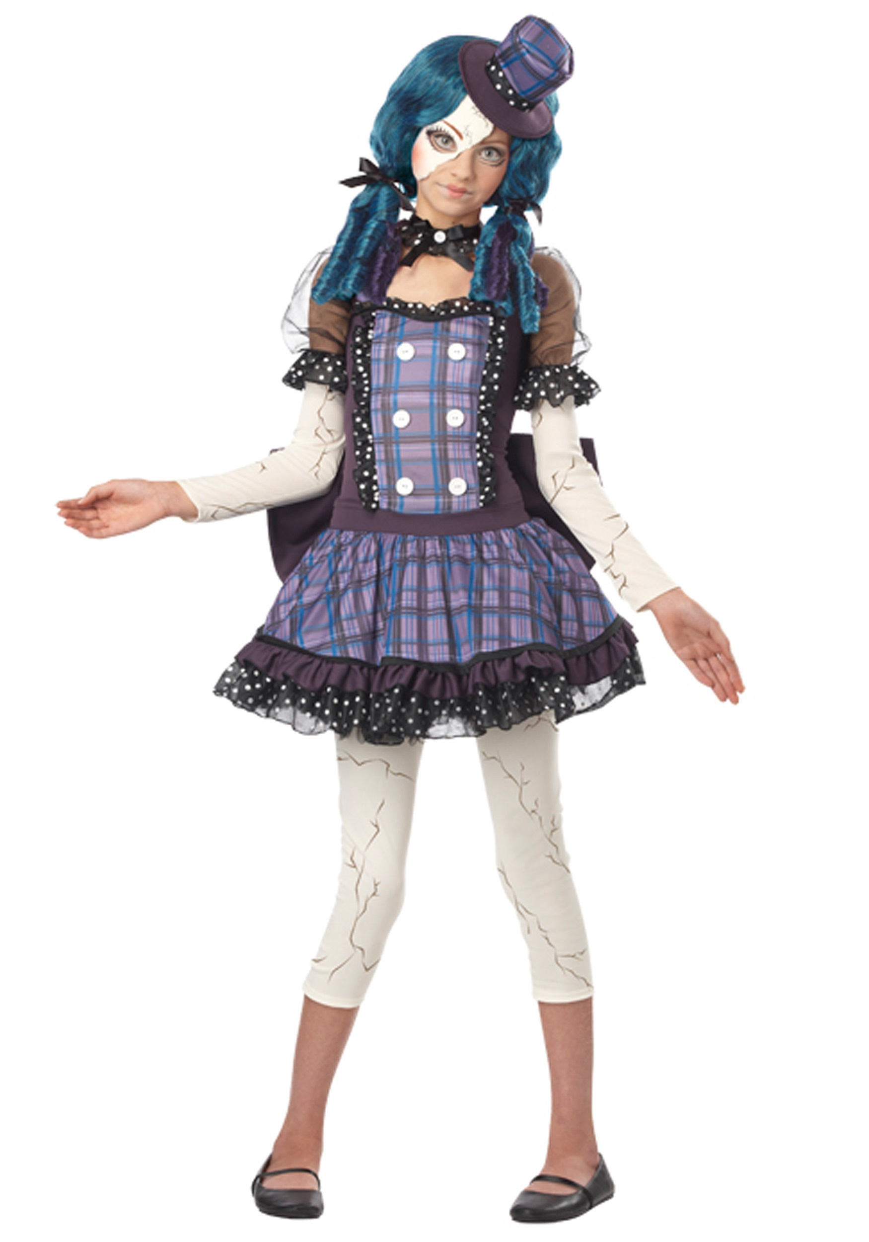Tween broken doll costume for Cool halloween costumes for kids girls