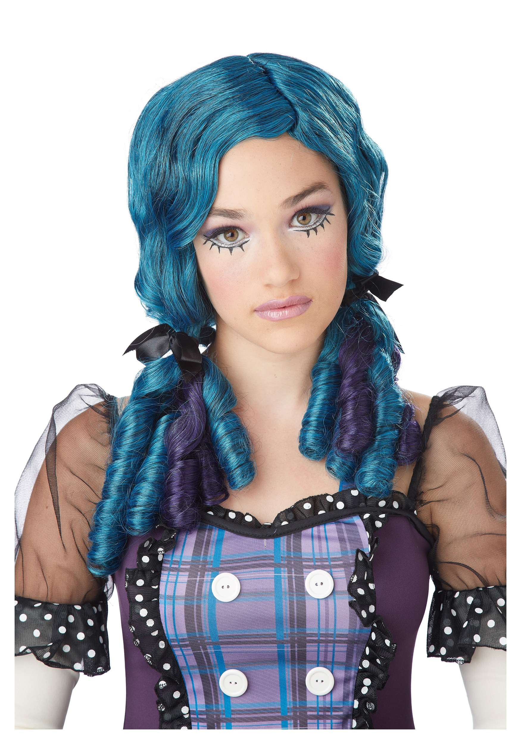 blue purple doll curls wig