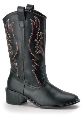 Black Cowboy Costume Boots for Men