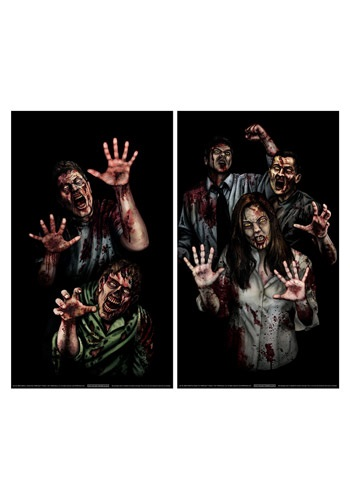 Zombie Asylum Window Cling Halloween Decoration