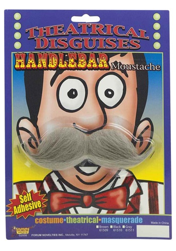 Gray Handlebar Mustache By: Forum Novelties, Inc for the 2015 Costume season.