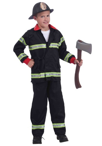 Click Here to buy Kids Black Fireman Costume from HalloweenCostumes, USA Funds & Shipping