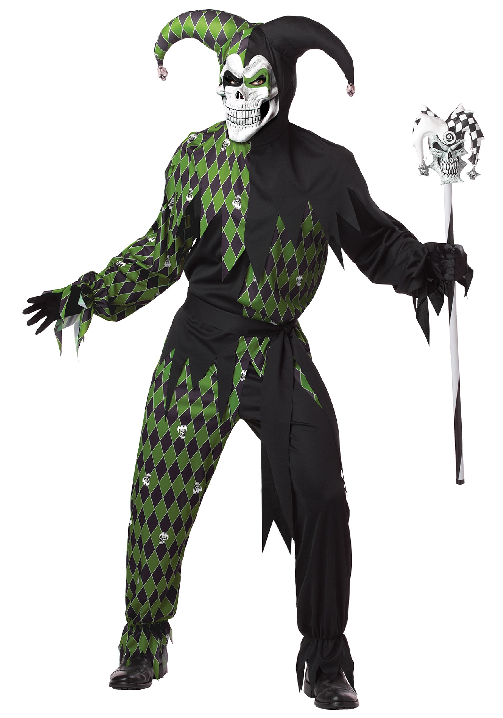 Mens Green Scary Jester Costume - Horror Costumes