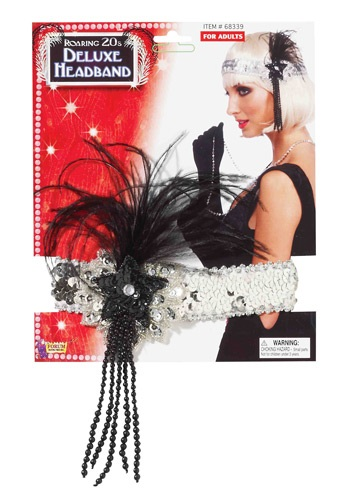 Image of Black and Silver Beaded Flapper Headband
